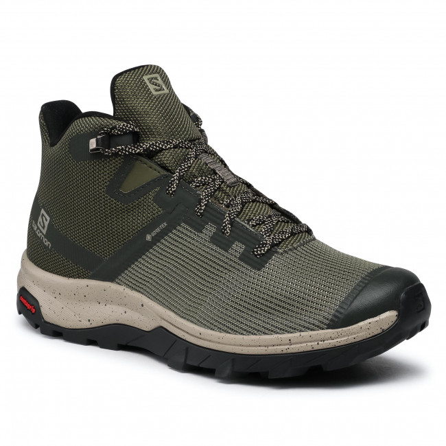 Παπούτσια πεζοπορίας SALOMON - Outline Prism Mid Gtx GORE-TEX 411201 26 M0 Olive Night/Black/Vintage Kaki